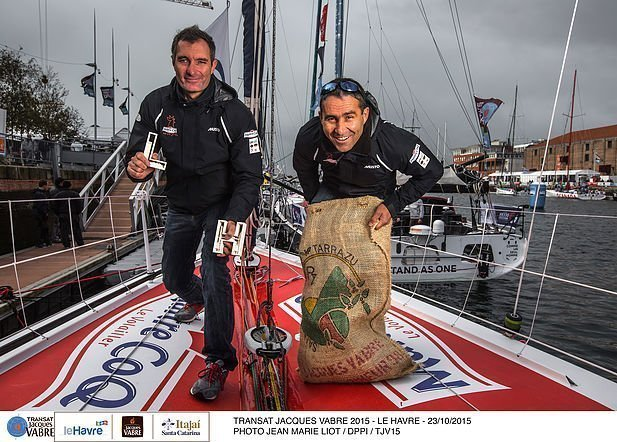 Duo portrait collection for IMOCA Maitre Coq, skippers Jeremie Beyou (FRA) and Philippe Legros (FRA), during the Transat Jacques Vabre pre-start week on october 23, 2015 in Le Havre, France - Photo Jean Marie Liot / DPPI