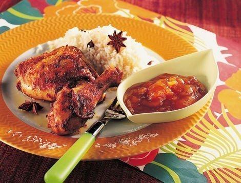 Recette de cuisses de poulet à la tahitienne accompagné de son riz de coco et chutney à la mangue, Maître CoQ.