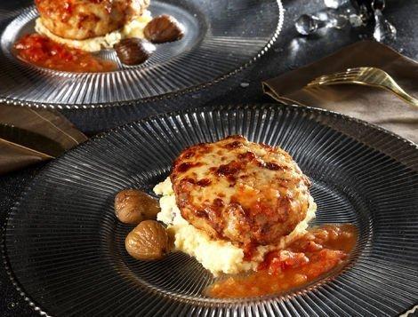 Recette Maître CoQ Extra de poulet gratiné accompagné de sa polenta crémeuse à la chataigne.