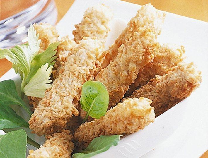 Recette pour les petits poussins Maître CoQ, Frites de poulet et purée aux trois légumes.