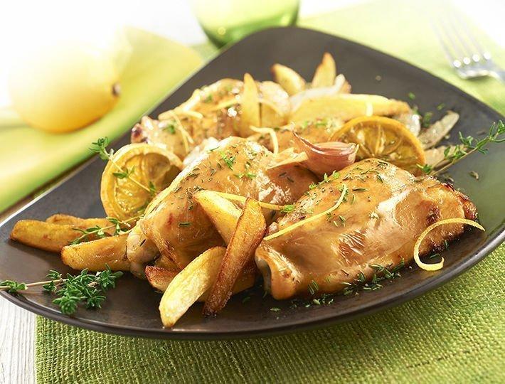 Recette Maître CoQ de hauts de cuisse de poulet au citron et aux herbes de Provence.