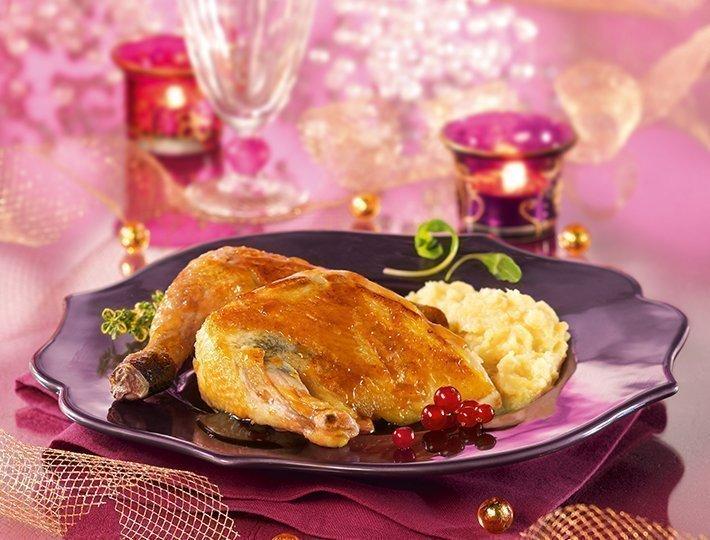 Recette de Pintade marinée au sirp d'érable accompagnée d'une purée de panais.