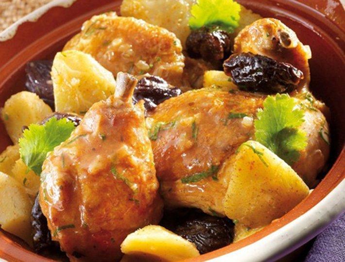 Tajine de poulet aux Pruneaux et fonds d'artichauts