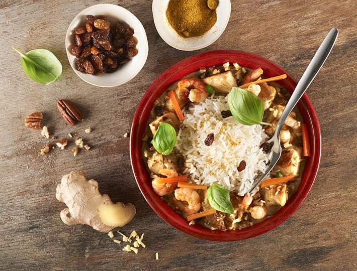 Poulet Curry à la Banane et aux Noix de Pécan