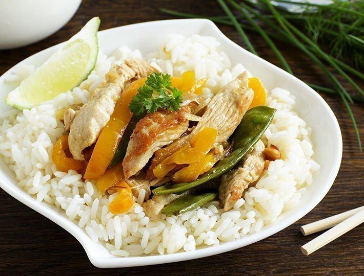 Une recette de Sauté de dinde à la chinoise et son riz