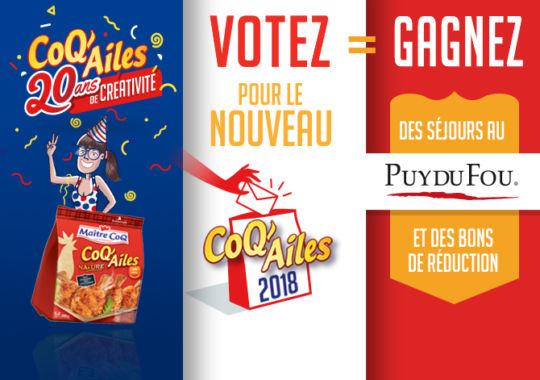 Votez pour le nouveau CoQ'Ailes 2018 et gagnez des séjours au Puy du Fou