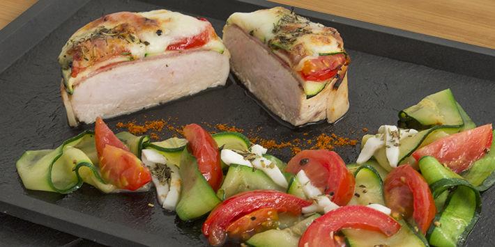 recette Mille-feuille de tournedos dinde au bacon, mozzarella et courgettes