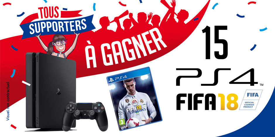 15 packs Console Sony PS4 + FIFA 18 à gagner !