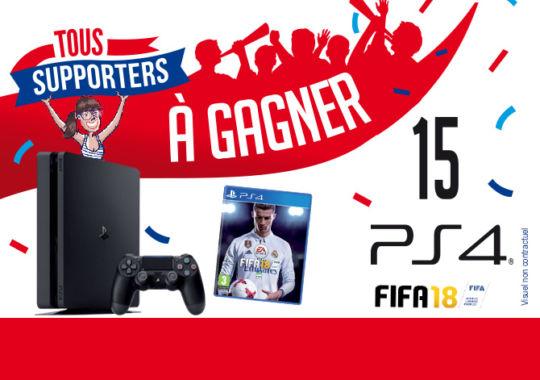 Tentez de gagner le plus foot des cadeaux : la dernière console Sony Playstation 4 et l'incontournable jeu FIFA 18.