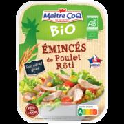 Les Emincés de poulet rôti Bio sont élaborés à partir de haut de cuisse de poulet fermier bio, d'origine France, élevé en plein air et nourri sans OGM (