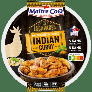 Les Escapades Indian Curry : de mini bouchées de poulet sans os sans peau, marinées et cuites